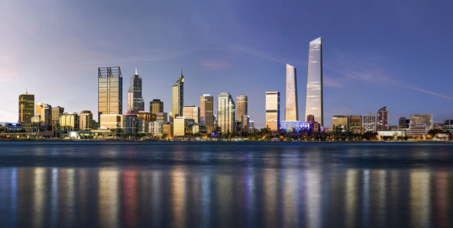 The Perth city skyline at twilight, viewed across the Swan River, Western Australia.