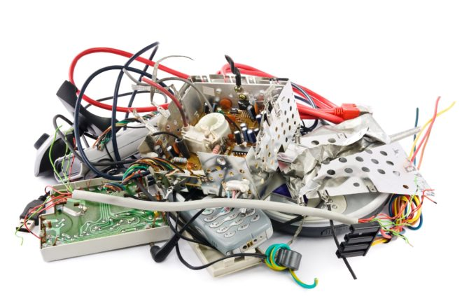 telstra - small heap of mixed electronic waste