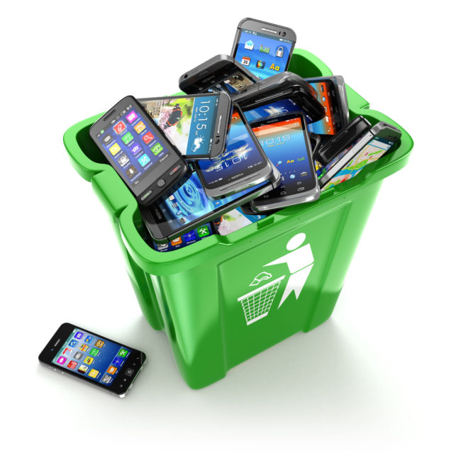 telstra - mobile phones in trash can isolated on white background. utilization cellphones concept. 3d