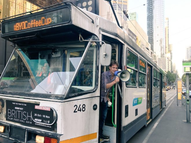 Tram with 50,000 coffee cups shows how much we waste every 30 minutes