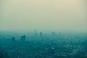 Bushfire smoke covering a city.