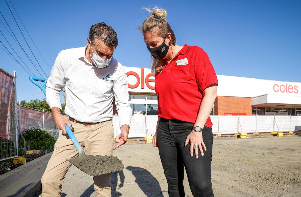 Coles recycles soft plastic packaging in car park concrete